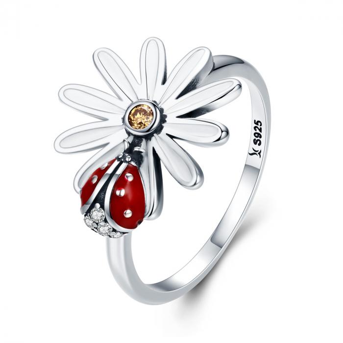 Inel argint cu gargarita si floare 0