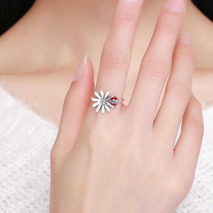 Inel argint cu gargarita si floare 4