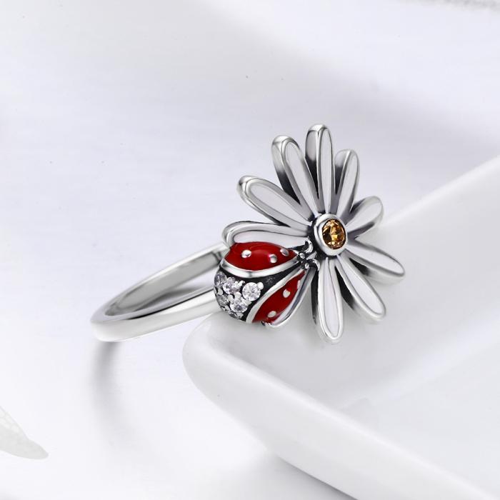 Inel argint cu gargarita si floare 5