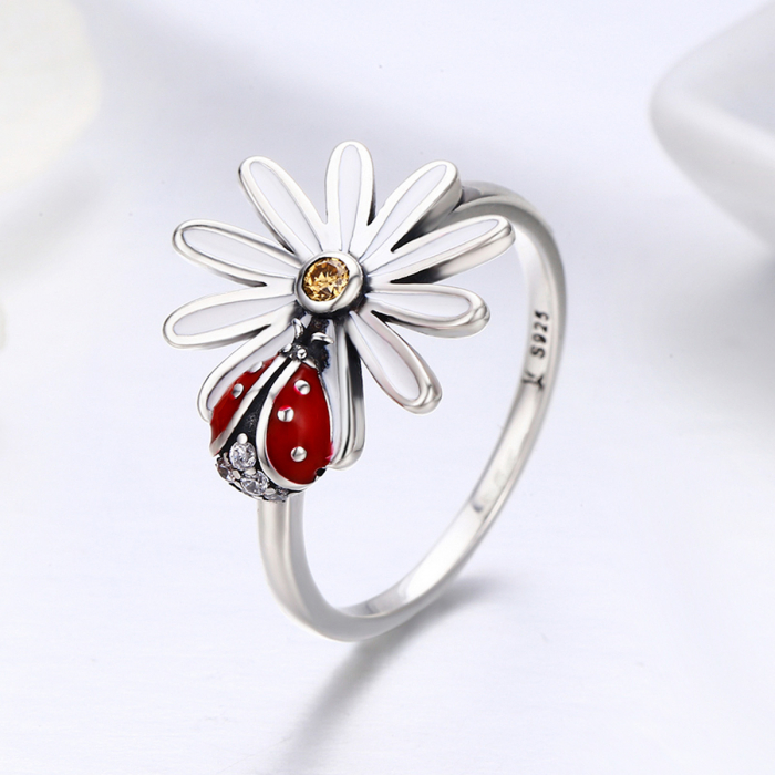Inel argint cu gargarita si floare 2