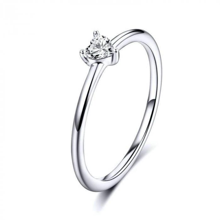 Inel argint cu inimioara de zirconiu 0