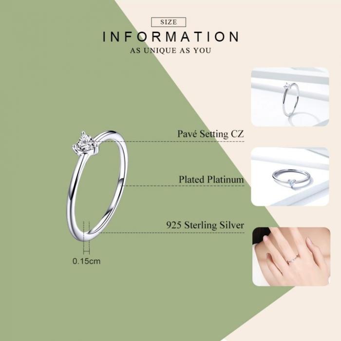 Inel argint cu inimioara de zirconiu 4