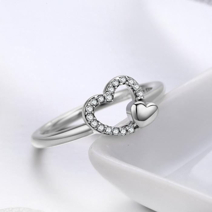 Inel argint cu inimioare 2