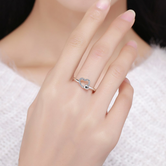 Inel argint cu inimioare 5