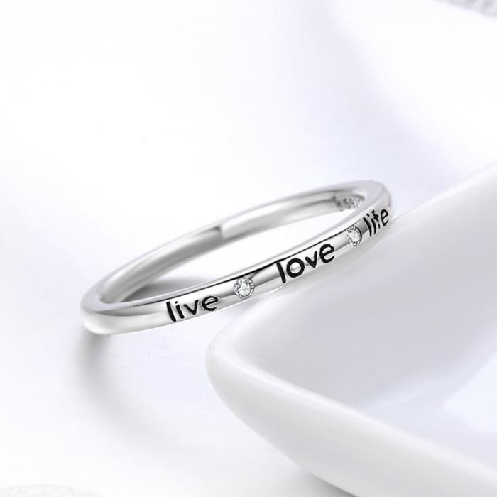 Inel argint cu mesajul LIVE LOVE LIFE 3