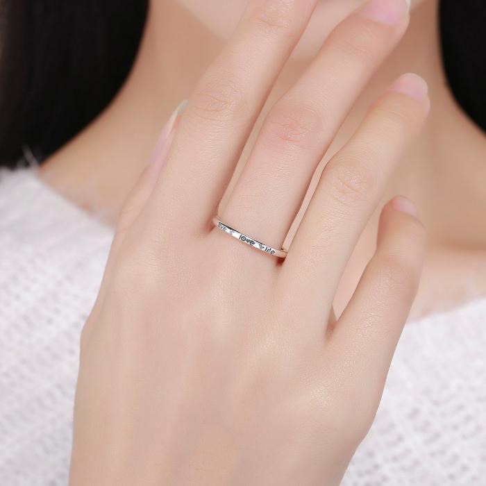 Inel argint cu mesajul LIVE LOVE LIFE 5