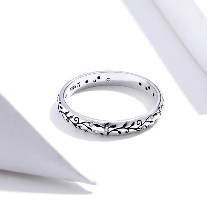 Inel argint cu model floral si zirconii [1]