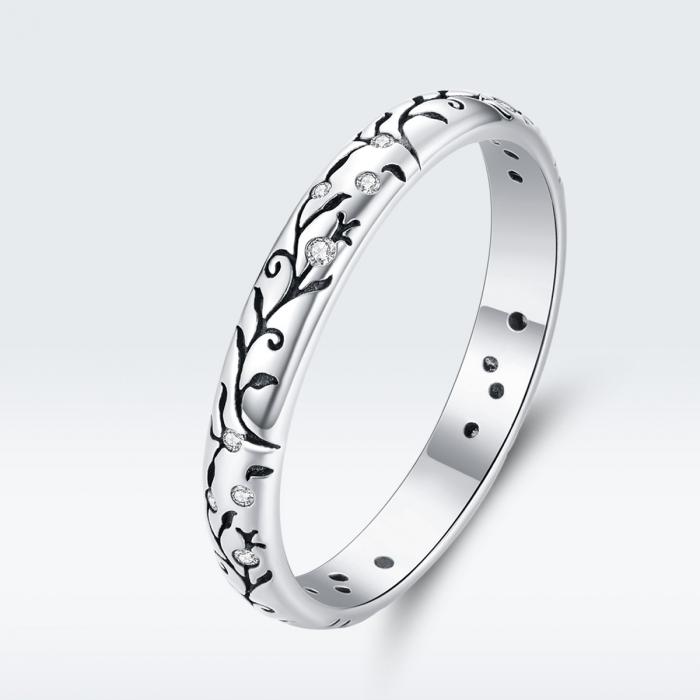 Inel argint cu model floral si zirconii [6]