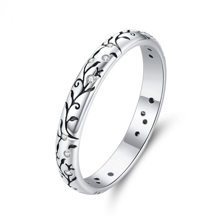 Inel argint cu model floral si zirconii [0]