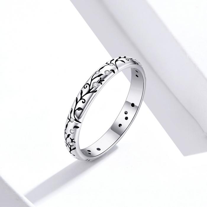 Inel argint cu model floral si zirconii [3]