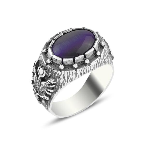 Inel argint cu model otoman si ochi de pisică violet [0]