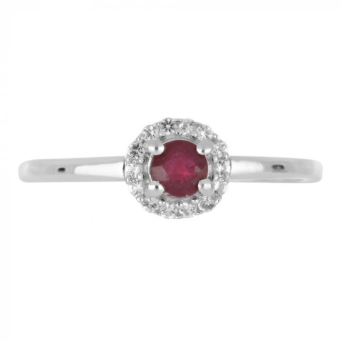 Inel argint cu rubin si cristale de zirconiu alb - IVA0120 1