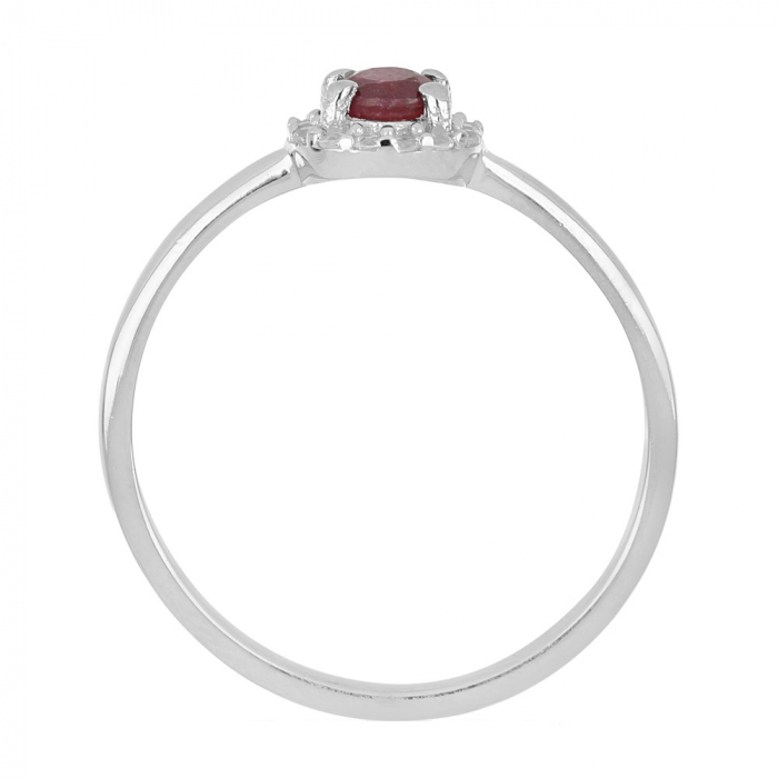 Inel argint cu rubin si cristale de zirconiu alb - IVA0120 2
