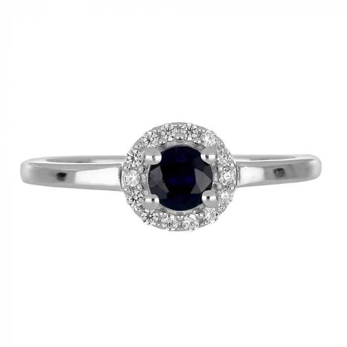 Inel argint cu Safir Albastru si cristale de zirconiu alb - IVA0117 [2]
