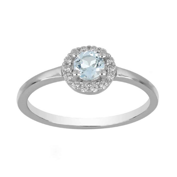 Inel argint cu Topaz Albastru Londra si cristale de zirconiu alb - IVA0119 [1]