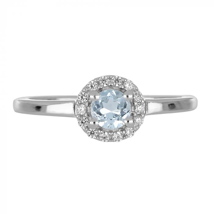 Inel argint cu Topaz Albastru Londra si cristale de zirconiu alb - IVA0119 [2]