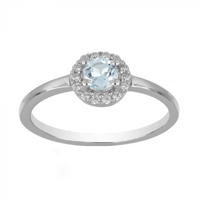 Inel argint cu topaz si cristale de zirconiu alb - IVA0121 0