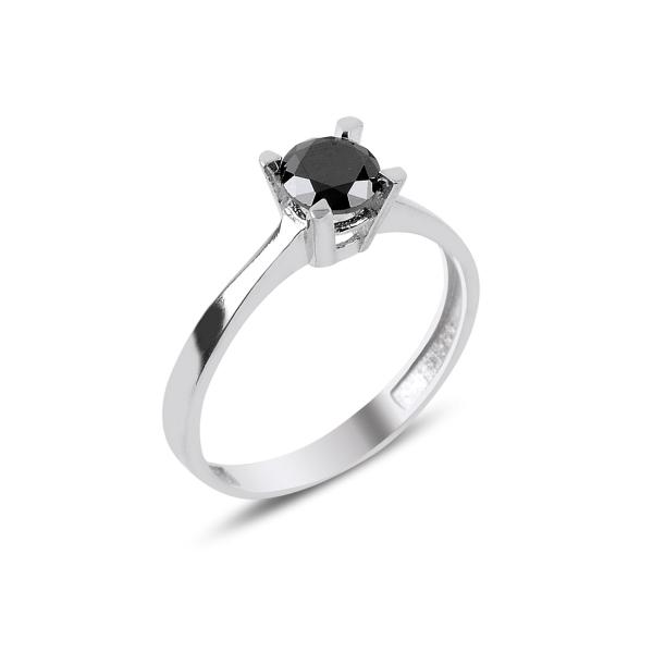 Inel elegant argint 925 cu zirconiu negru - Solitaire [0]