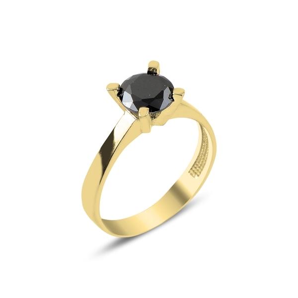 Inel argint cu Zirconiu Negru - Solitaire  0