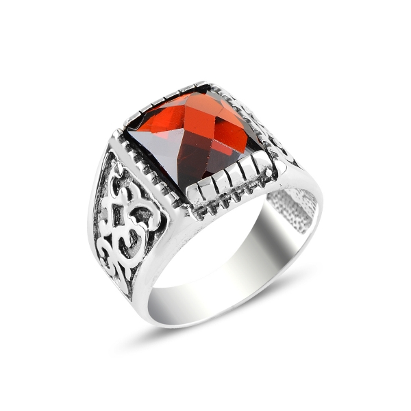 Inel argint cu zirconiu rosu [0]