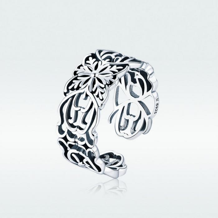 Inel argint decupat cu flori 5