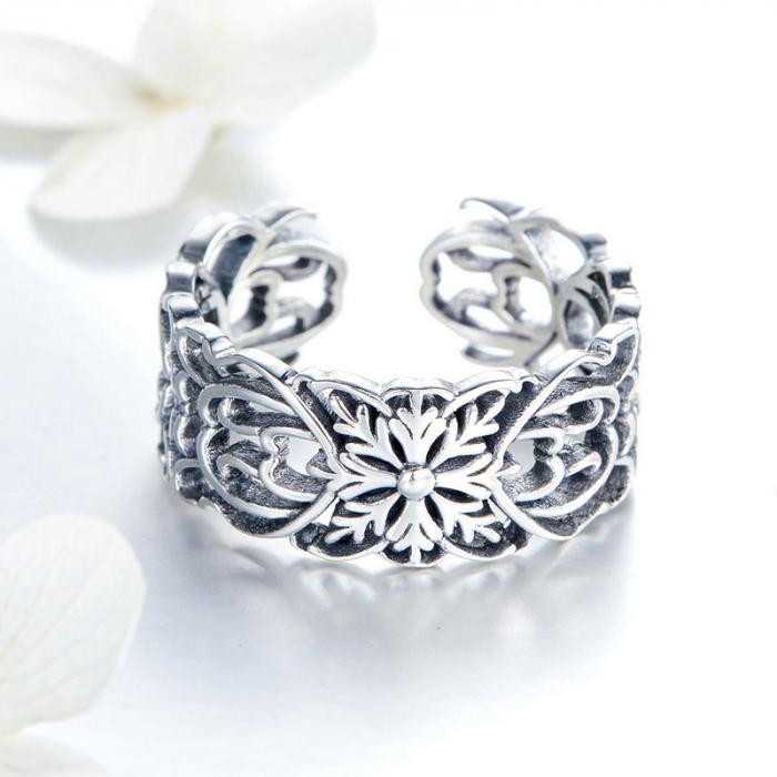 Inel argint decupat cu flori 2
