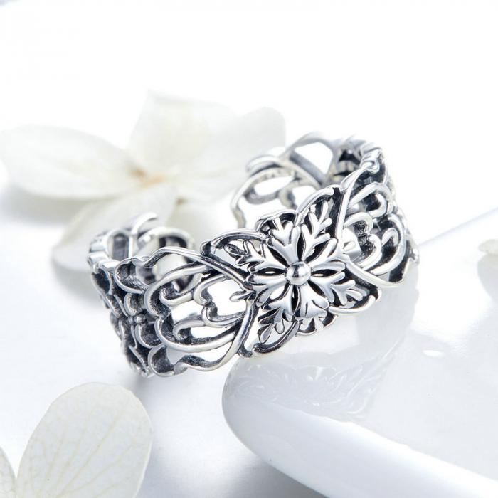 Inel argint decupat cu flori 3