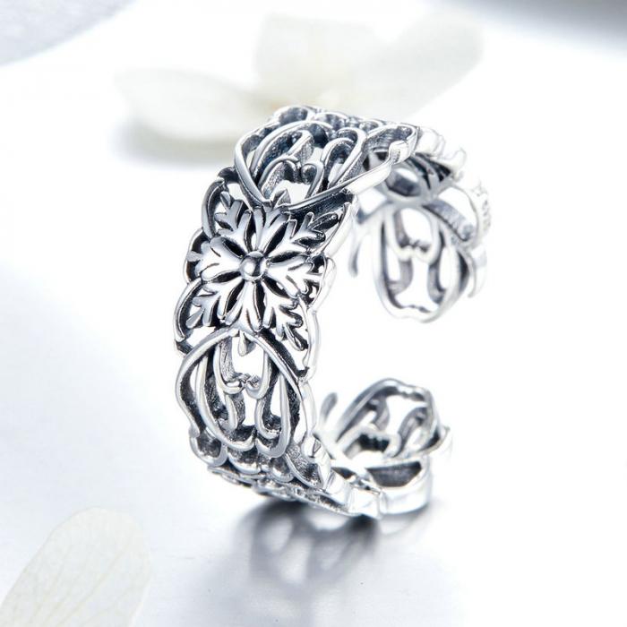Inel argint decupat cu flori 4