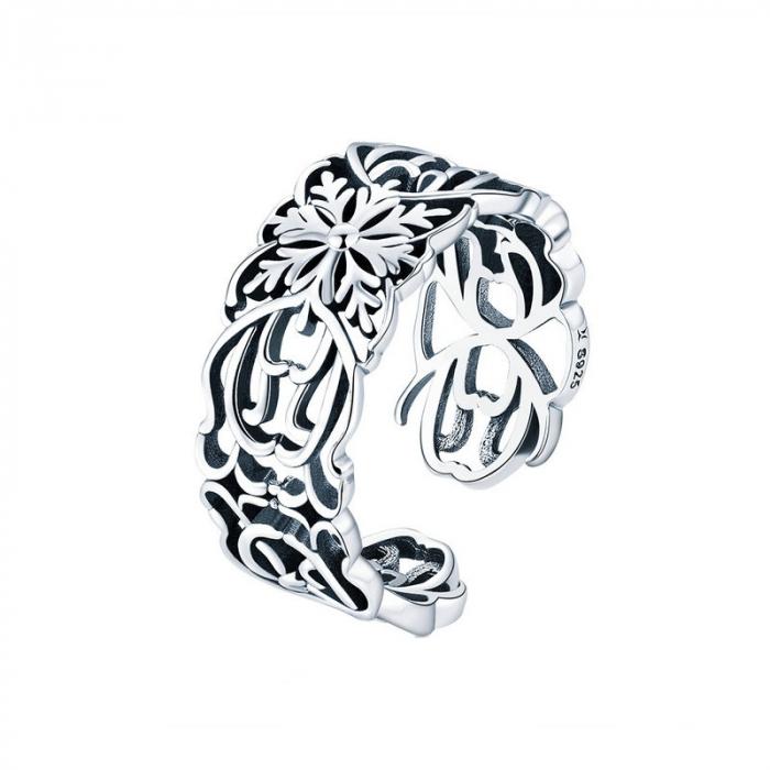 Inel argint decupat cu flori 0