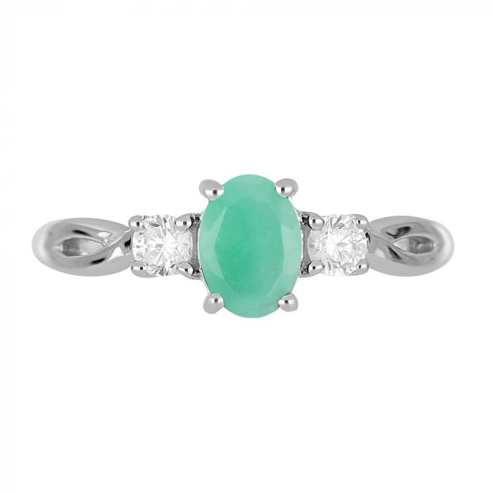Inel argint elegant cu emerald si zirconiu alb - IVA0087 [2]