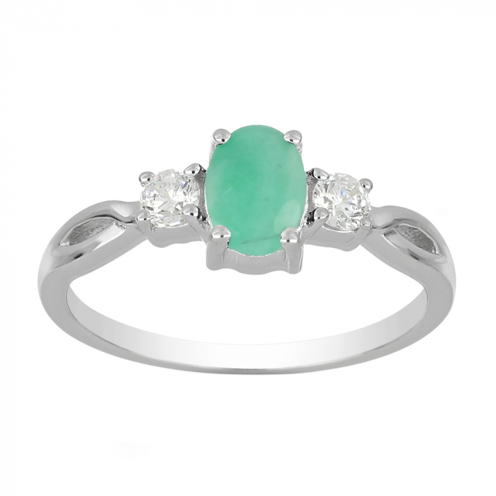 Inel argint elegant cu emerald si zirconiu alb - IVA0087 [1]