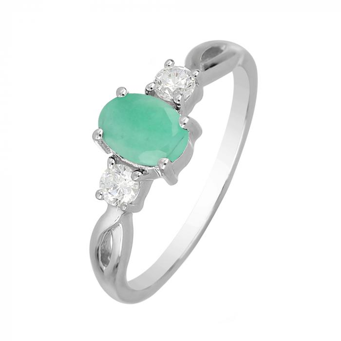 Inel argint elegant cu emerald si zirconiu alb - IVA0087 [0]