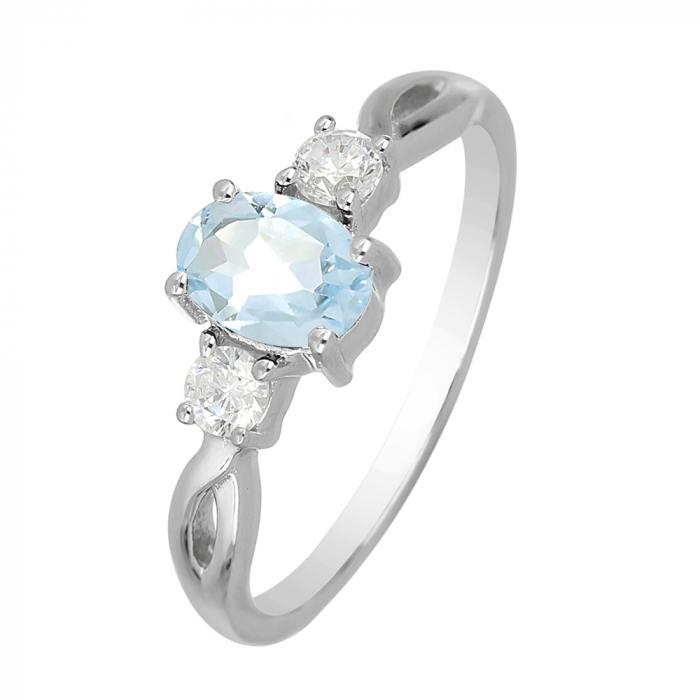 Inel argint elegant cu topaz si zirconiu alb - IVA0090 0