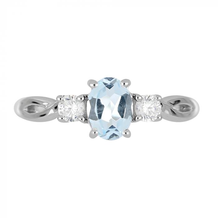 Inel argint elegant cu topaz si zirconiu alb - IVA0090 3