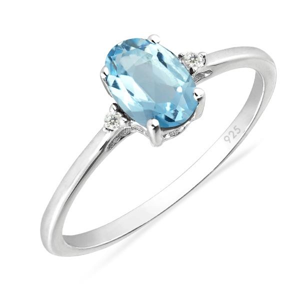 Inel argint Elisabeta, 925, cu topaz cer albastru si zirconiu alb - IVA0049 [0]