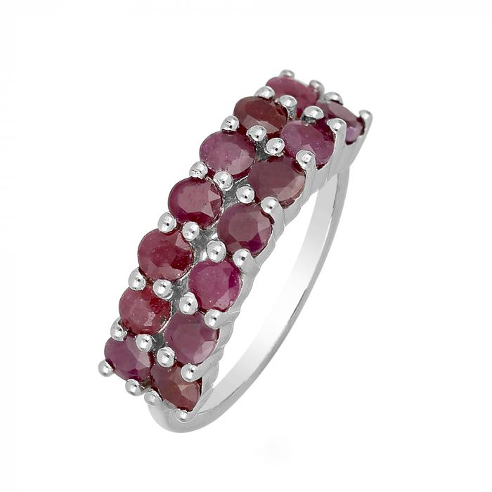 Inel argint Eternity cu 2 randuri de pietre de rubin - IVA0102 0
