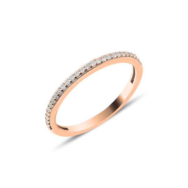 Inel argint Eternity cu zirconii albe, placat cu aur roz [0]