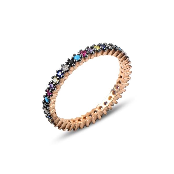 Inel argint Eternity cu zirconii multicolore, placat cu aur roz - ITU0230 0