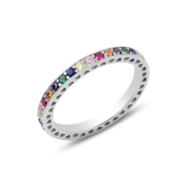 Inel argint Eternity cu zirconii multicolore, placat cu rodiu - ITU0234 0