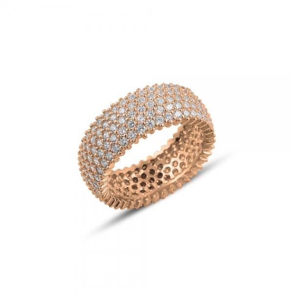 Inel argint Eternity cu zirconii, placat cu aur roz 0