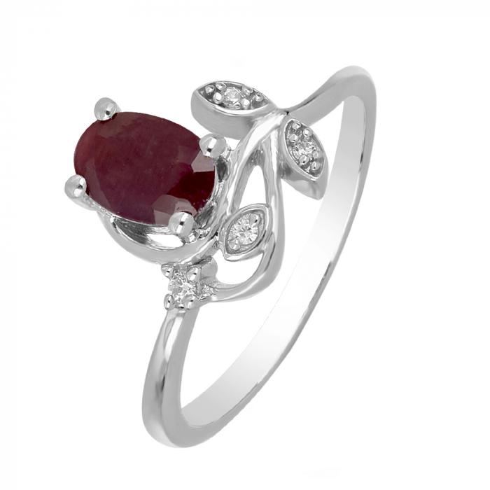 Inel argint floare cu rubin si zirconiu alb - IVA0092 0