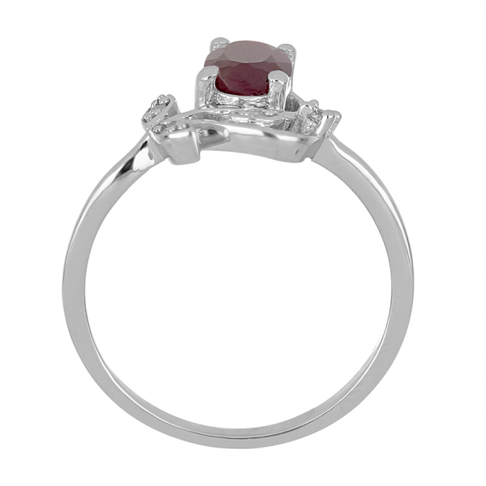 Inel argint floare cu rubin si zirconiu alb - IVA0092 3