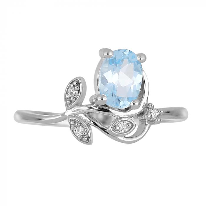 Inel argint floare cu topaz si cristale de zirconiu alb - IVA0093 [2]