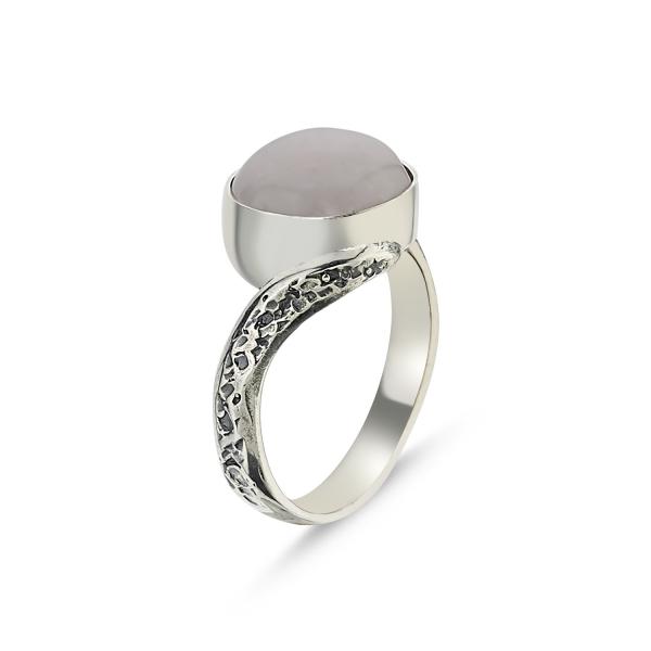Inel argint Handmade cu Cuart Roz 0