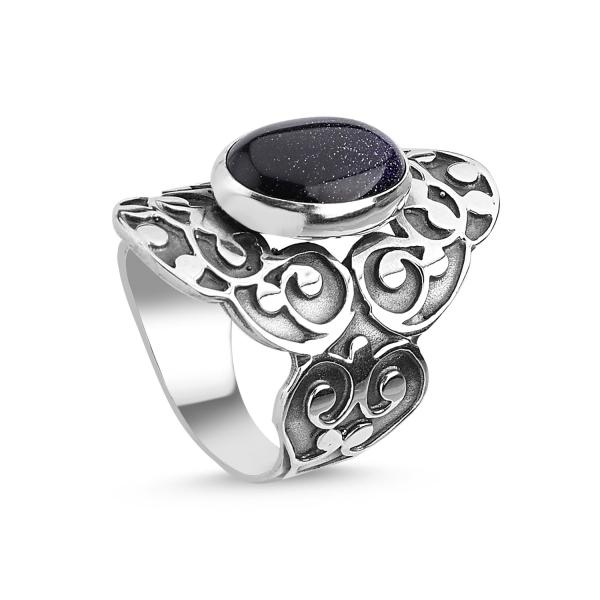 Inel argint Handmade cu Piatra Soarelui Albastra 0