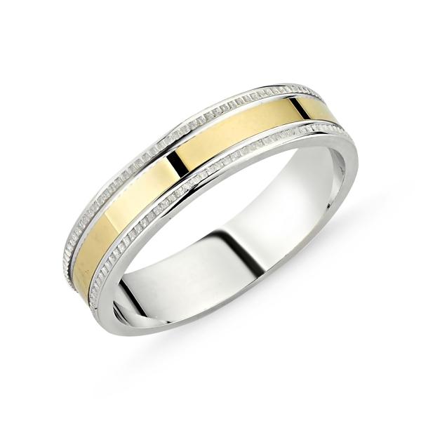 Inel argint lat cu banda placata cu aur 0