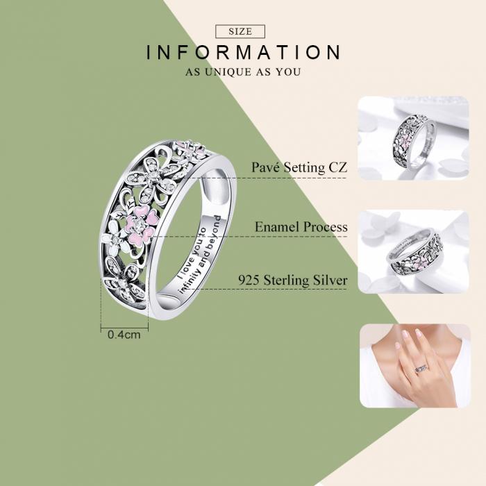 Inel argint lat cu flori de cires japonez Infinit Love 2