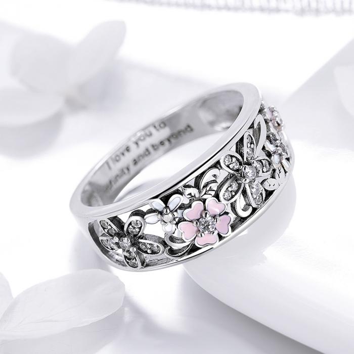 Inel argint lat cu flori de cires japonez Infinit Love 1