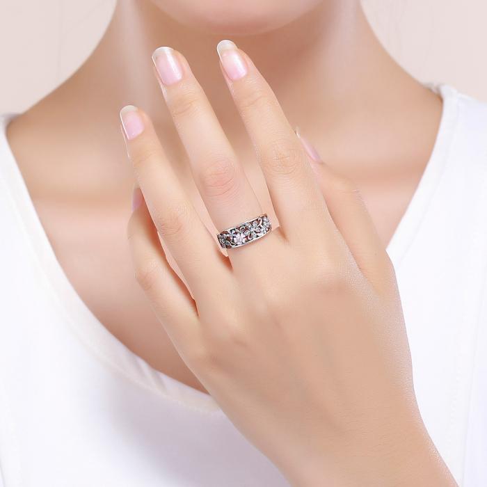 Inel argint lat cu flori de cires japonez Infinit Love 5