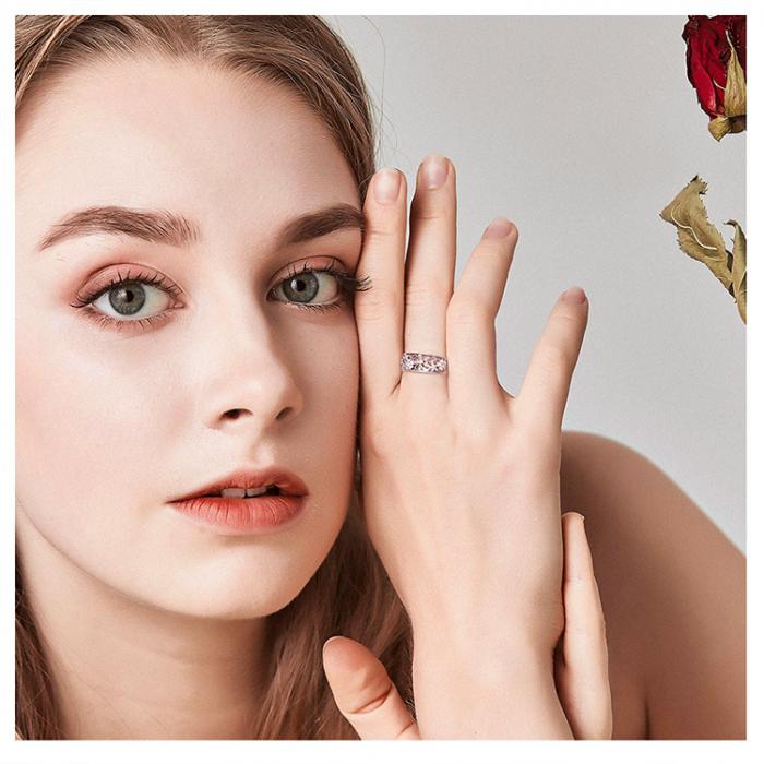 Inel argint lat cu flori de cires japonez Infinit Love 8